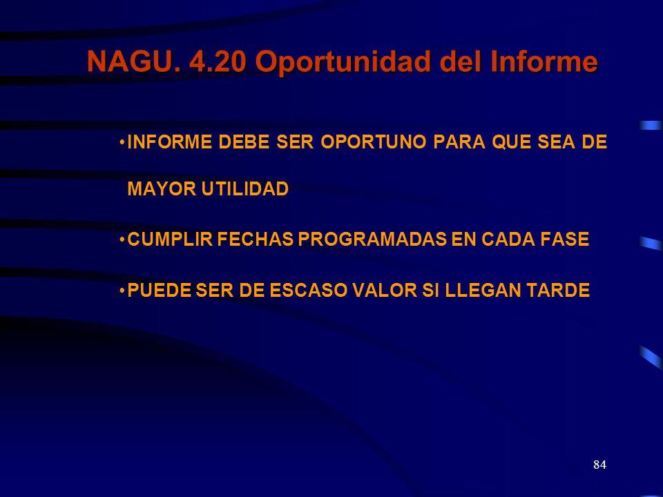 NAGU. 4.20 Oportunidad del Informe