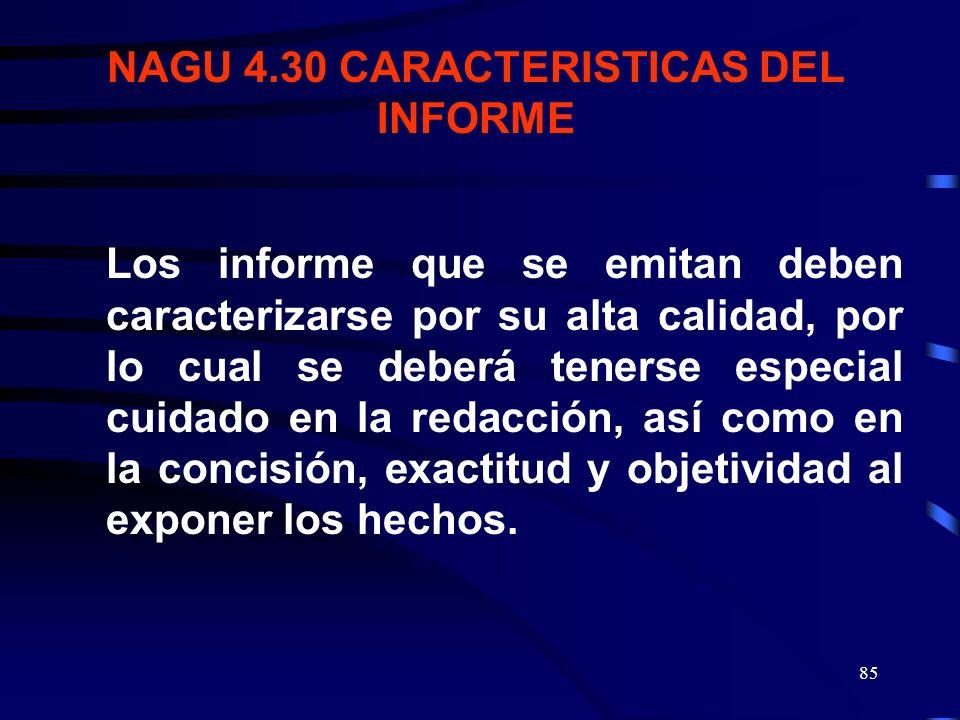 NAGU 4.30 CARACTERISTICAS DEL INFORME