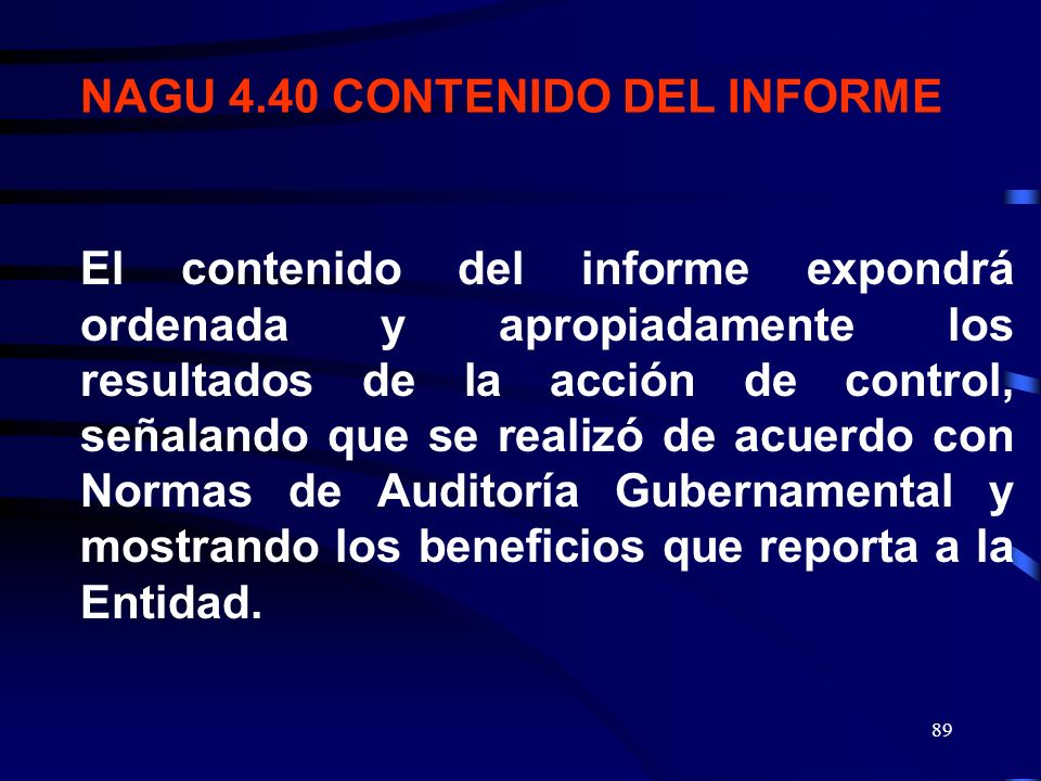 NAGU 4.40 CONTENIDO DEL INFORME
