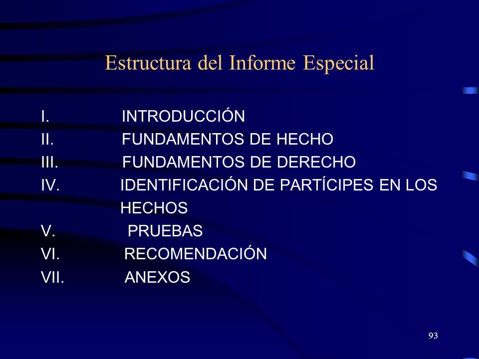 Estructura del Informe Especial