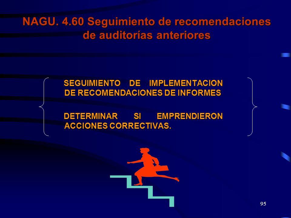 NAGU. 4.60 Seguimiento de recomendaciones de auditorías anteriores