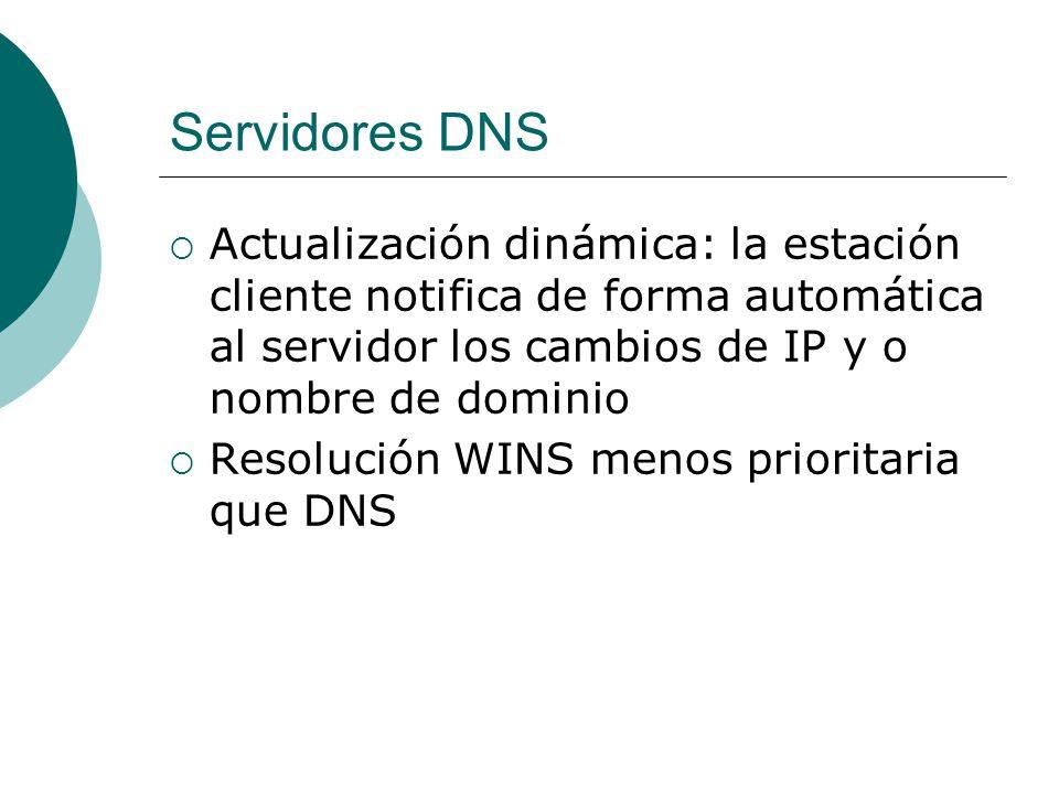 Servidores DNS Actualización dinámica: la estación cliente notifica de forma automática al servidor los cambios de IP y o nombre de dominio.