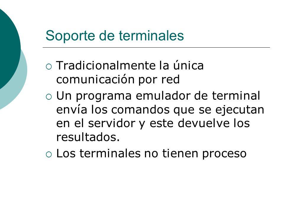 Soporte de terminales Tradicionalmente la única comunicación por red