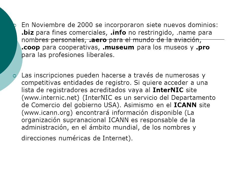 En Noviembre de 2000 se incorporaron siete nuevos dominios: