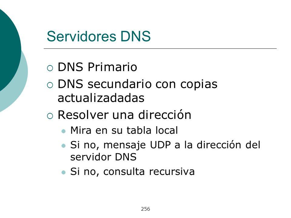 Servidores DNS DNS Primario DNS secundario con copias actualizadadas