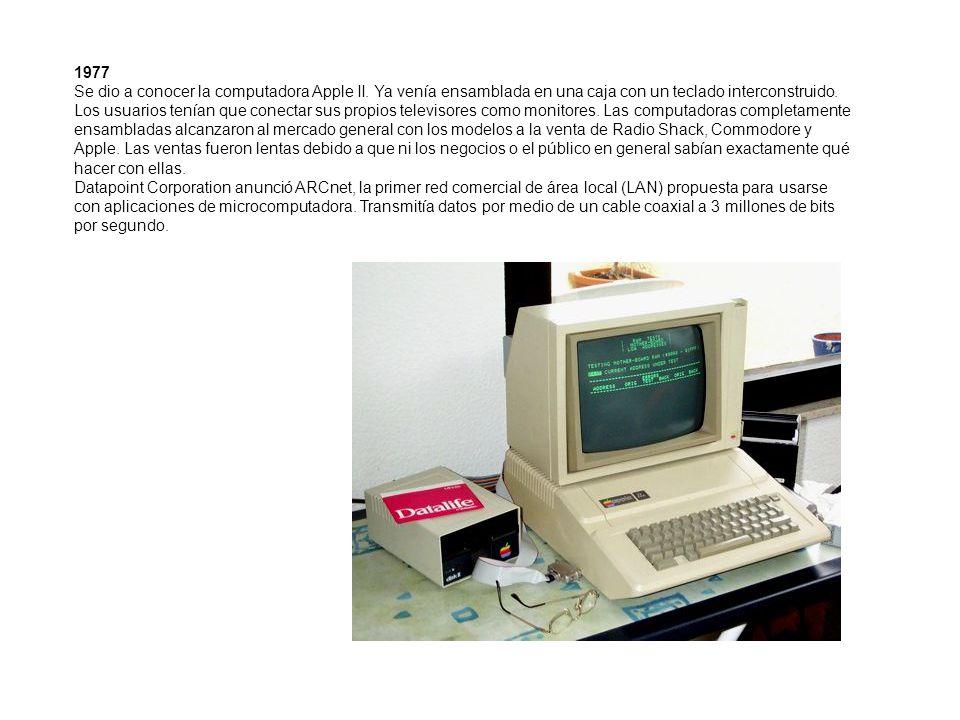 1977 Se dio a conocer la computadora Apple II