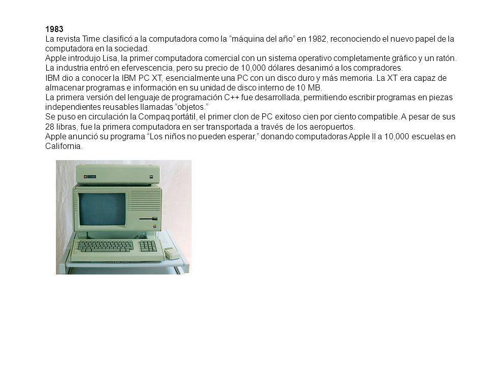 1983 La revista Time clasificó a la computadora como la máquina del año en 1982, reconociendo el nuevo papel de la computadora en la sociedad.