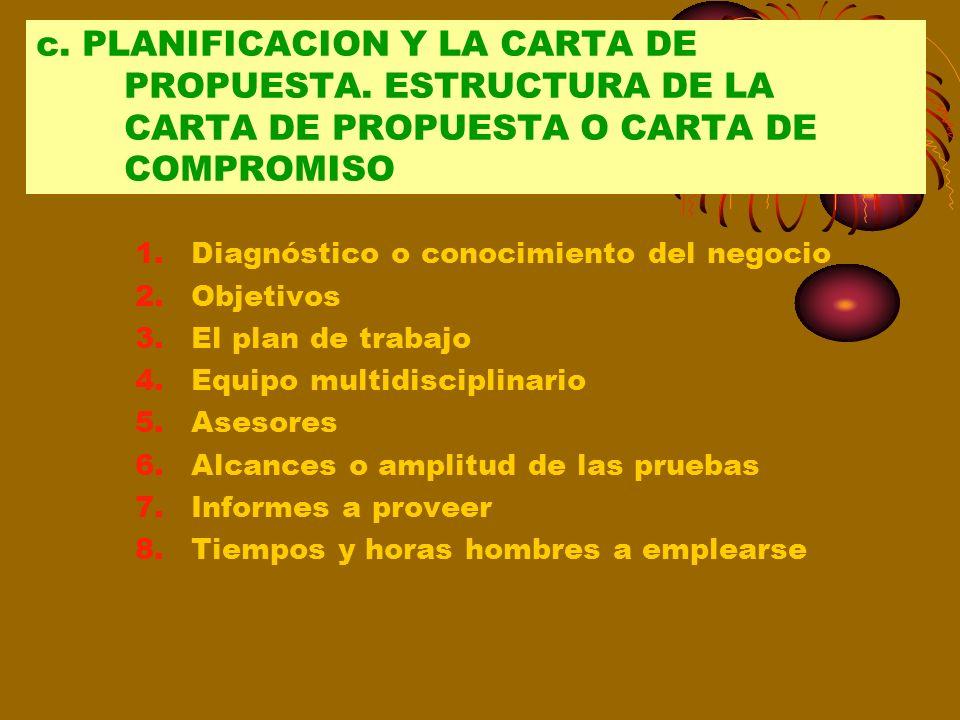 c. PLANIFICACION Y LA CARTA DE PROPUESTA