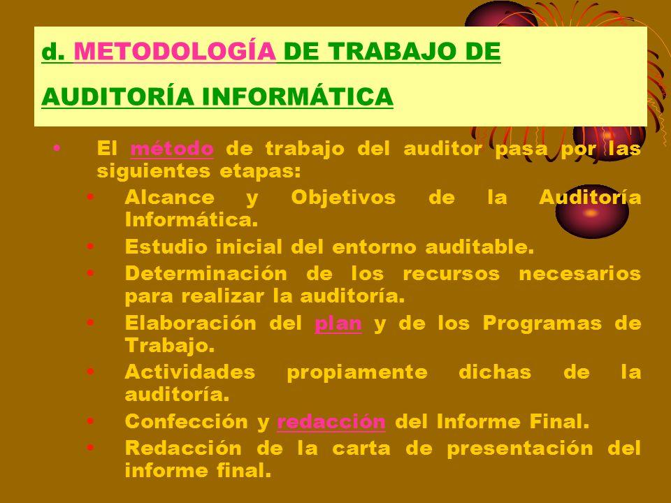 d. METODOLOGÍA DE TRABAJO DE AUDITORÍA INFORMÁTICA