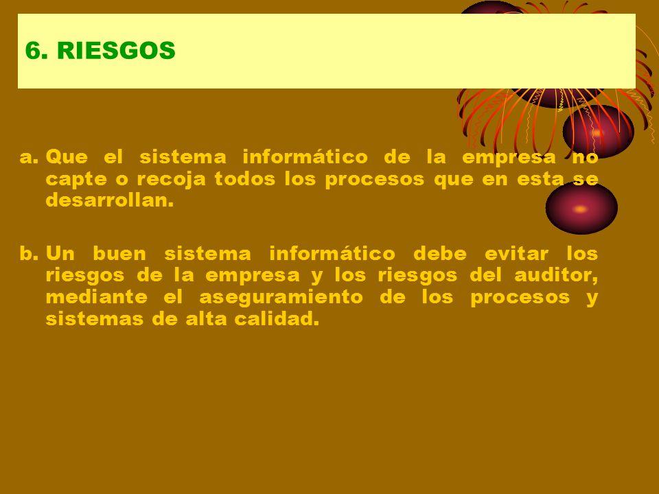 6. RIESGOS a. Que el sistema informático de la empresa no capte o recoja todos los procesos que en esta se desarrollan.