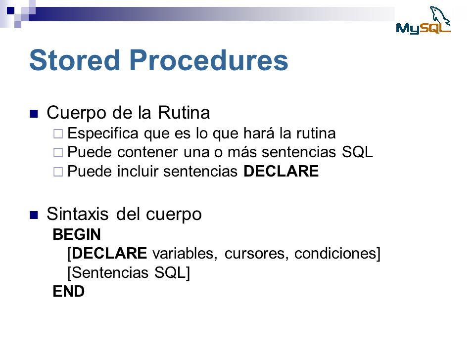 Stored Procedures Cuerpo de la Rutina Sintaxis del cuerpo