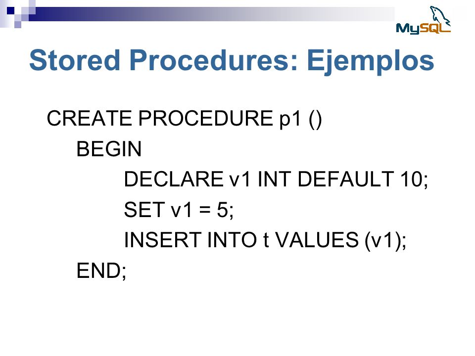 Stored Procedures: Ejemplos