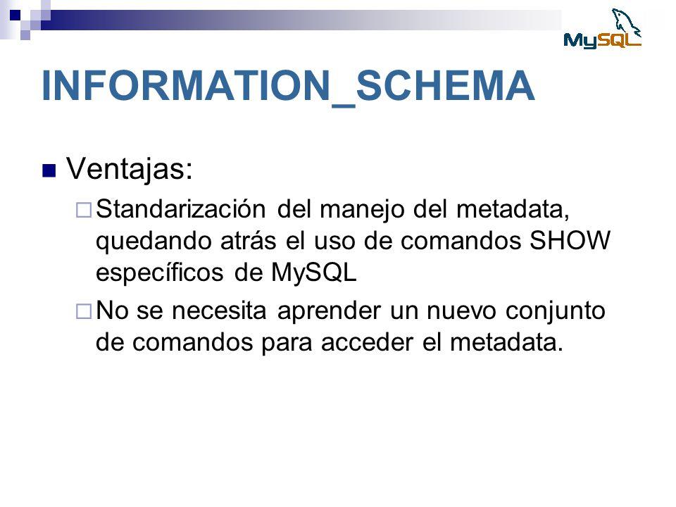 INFORMATION_SCHEMA Ventajas: