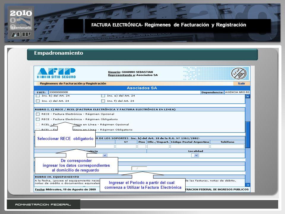 FACTURA ELECTRÓNICA- Regímenes de Facturación y Registración