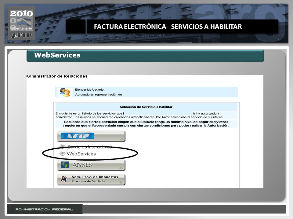 FACTURA ELECTRÓNICA- SERVICIOS A HABILITAR