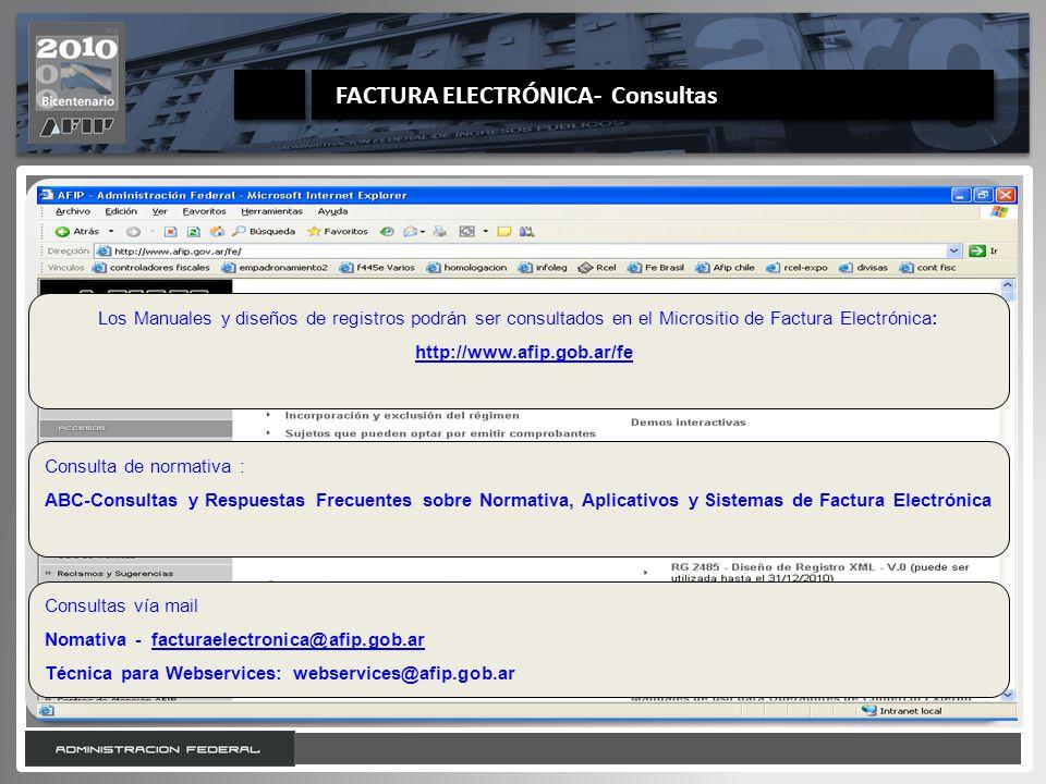 Octubre de 2010 FACTURA ELECTRÓNICA- Consultas
