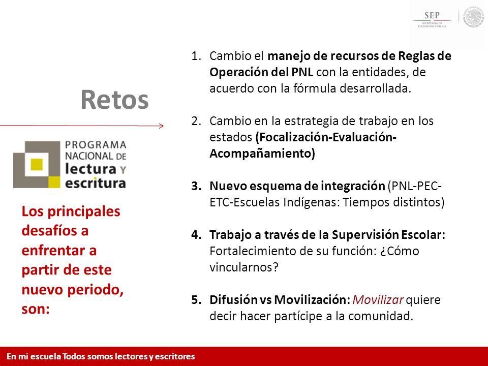 Cambio el manejo de recursos de Reglas de Operación del PNL con la entidades, de acuerdo con la fórmula desarrollada.
