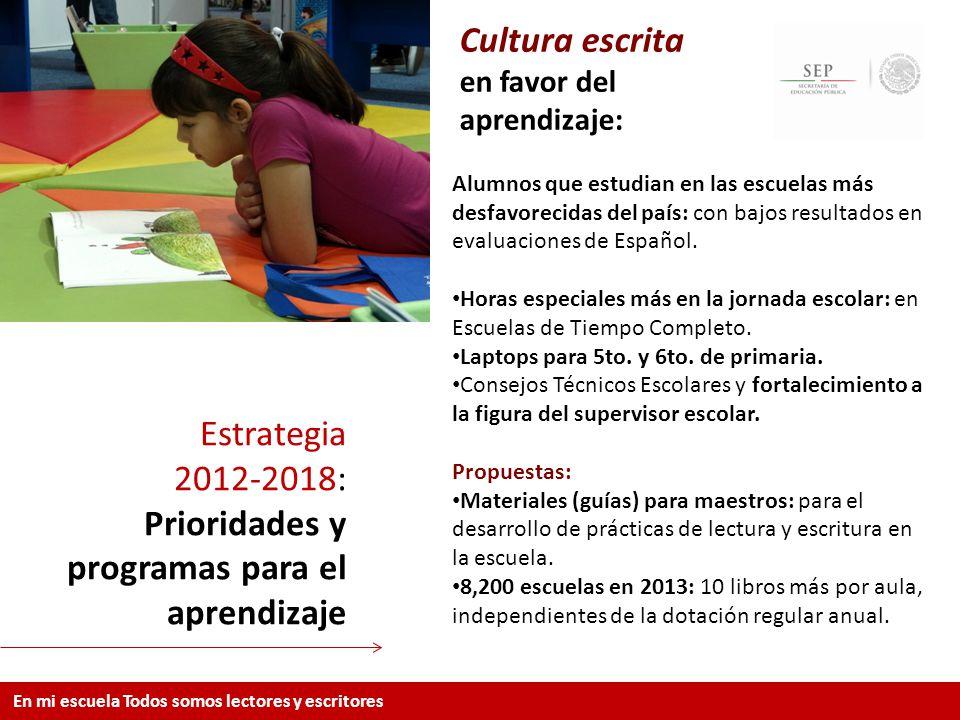 Cultura escrita en favor del aprendizaje:
