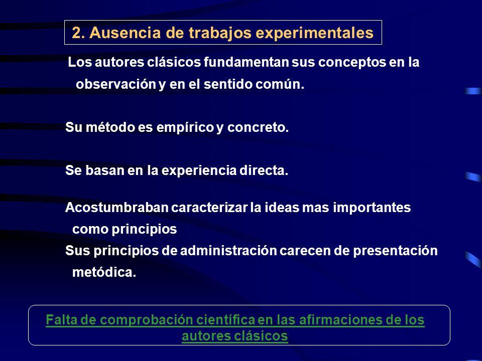 2. Ausencia de trabajos experimentales