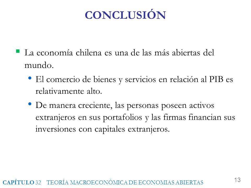 CONCLUSIÓN La economía chilena es una de las más abiertas del mundo.