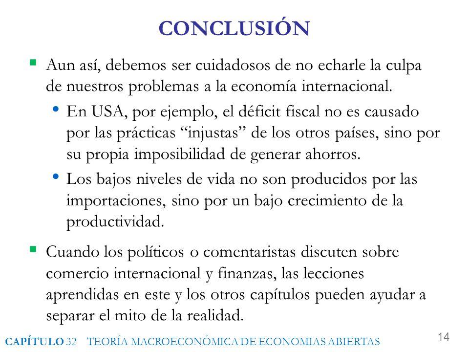 CONCLUSIÓN Aun así, debemos ser cuidadosos de no echarle la culpa de nuestros problemas a la economía internacional.