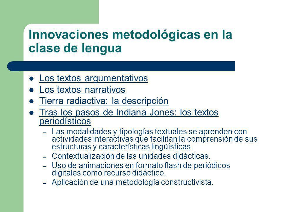 Innovaciones metodológicas en la clase de lengua