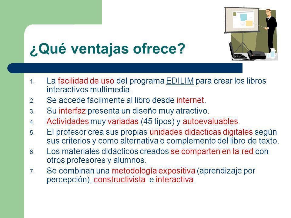 ¿Qué ventajas ofrece La facilidad de uso del programa EDILIM para crear los libros interactivos multimedia.