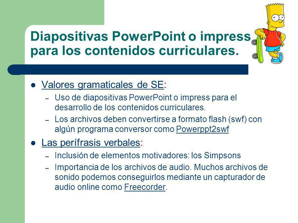 Diapositivas PowerPoint o impress para los contenidos curriculares.