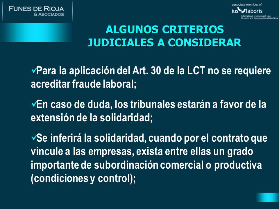 ALGUNOS CRITERIOS JUDICIALES A CONSIDERAR