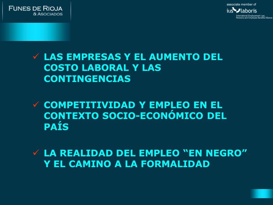 LAS EMPRESAS Y EL AUMENTO DEL COSTO LABORAL Y LAS CONTINGENCIAS
