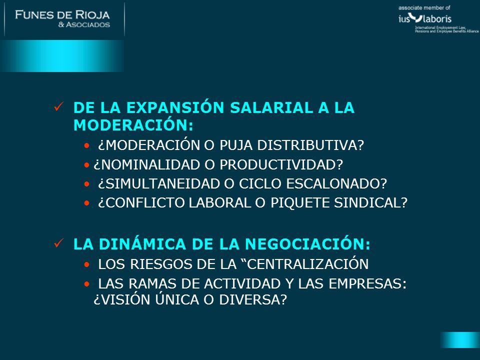 DE LA EXPANSIÓN SALARIAL A LA MODERACIÓN: