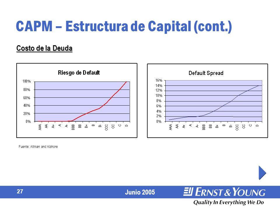 CAPM – Estructura de Capital (cont.)