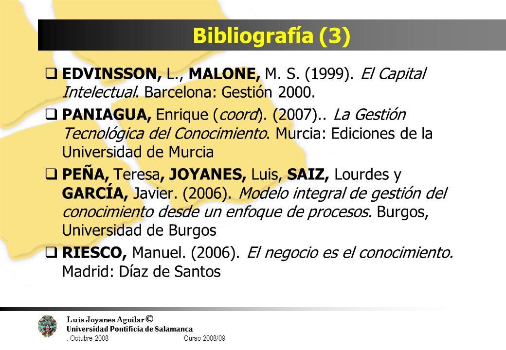 Bibliografía (3) EDVINSSON, L., MALONE, M. S. (1999). El Capital Intelectual. Barcelona: Gestión 2000.
