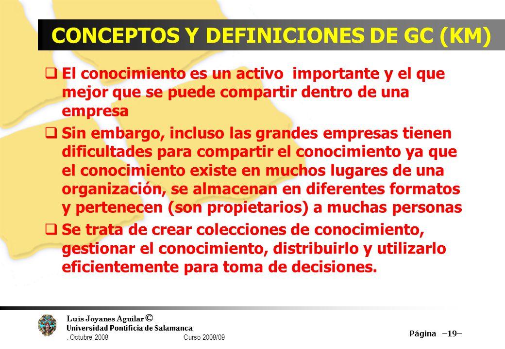 CONCEPTOS Y DEFINICIONES DE GC (KM)