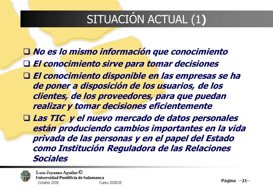 SITUACIÓN ACTUAL (1) No es lo mismo información que conocimiento