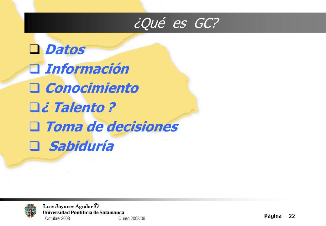 ¿Qué es GC Datos Información Conocimiento ¿ Talento Toma de decisiones Sabiduría