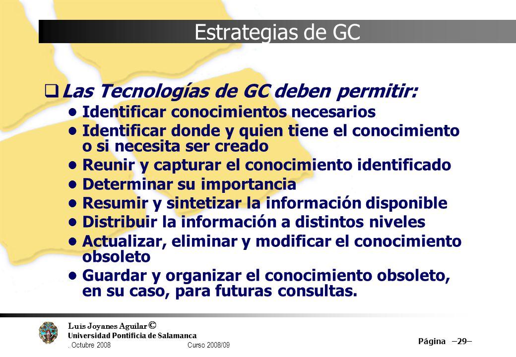 Estrategias de GC Las Tecnologías de GC deben permitir: