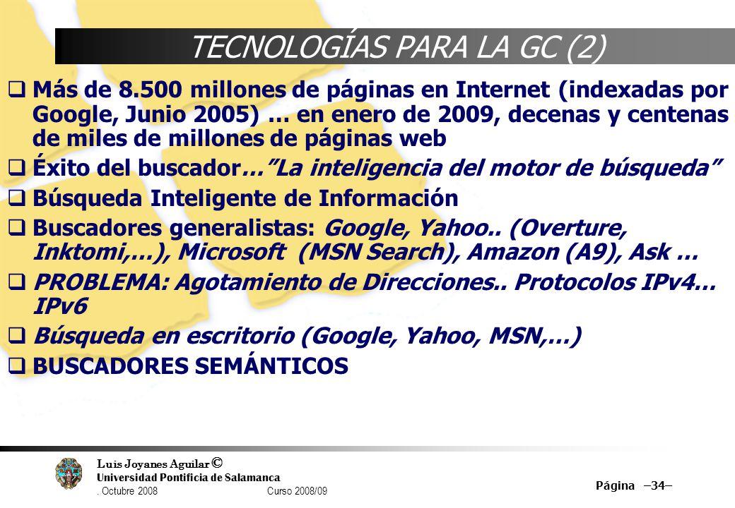 TECNOLOGÍAS PARA LA GC (2)