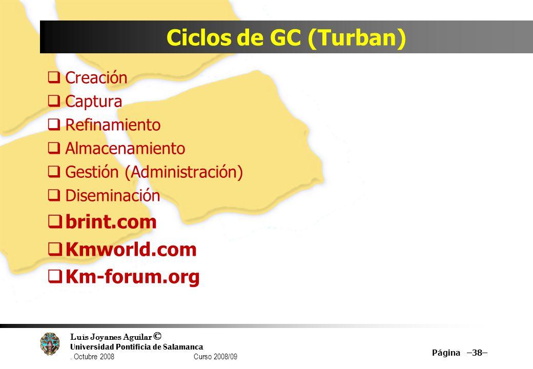 Ciclos de GC (Turban) brint.com Kmworld.com Km-forum.org Creación