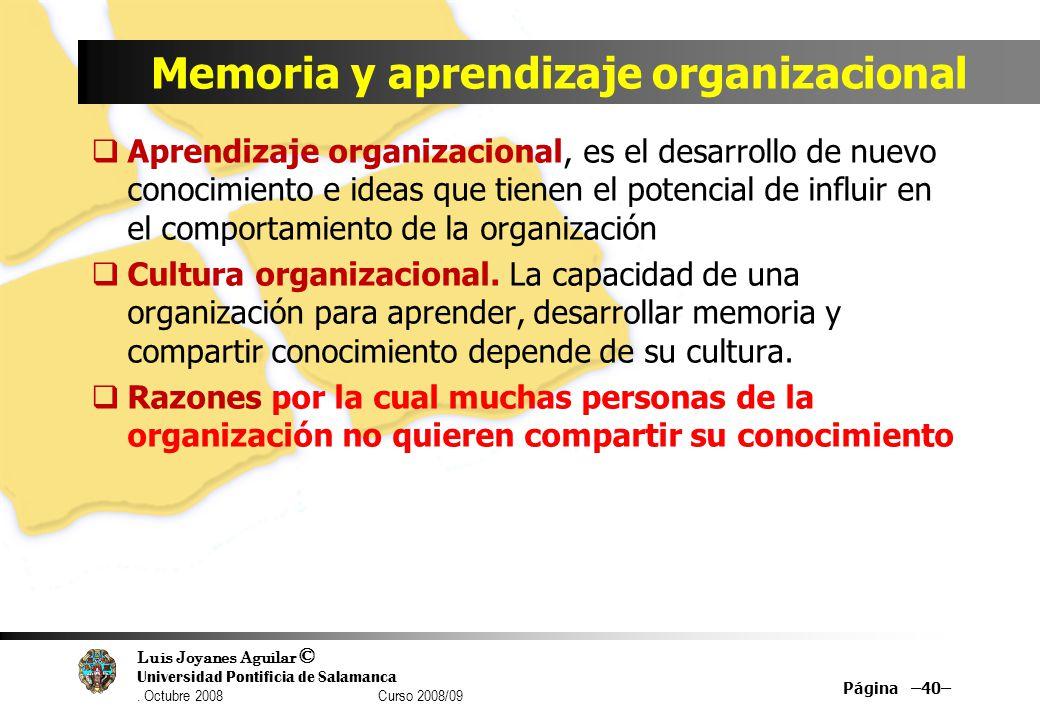 Memoria y aprendizaje organizacional