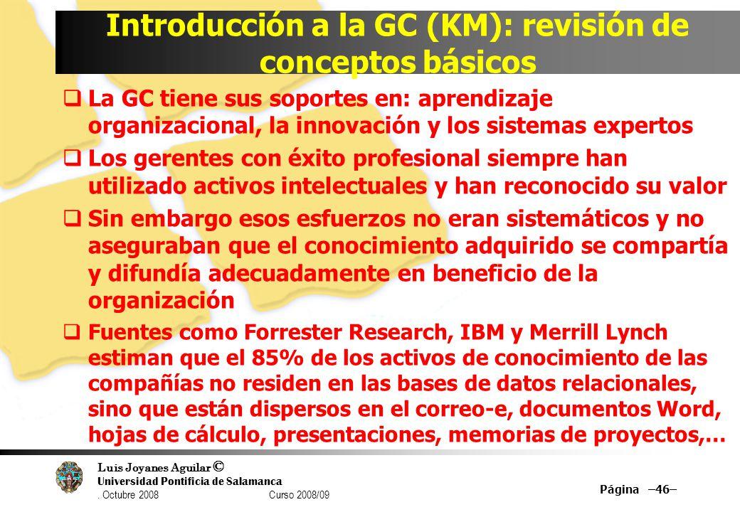 Introducción a la GC (KM): revisión de conceptos básicos