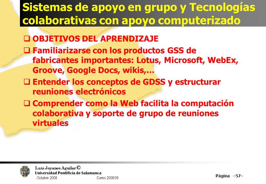 Sistemas de apoyo en grupo y Tecnologías colaborativas con apoyo computerizado