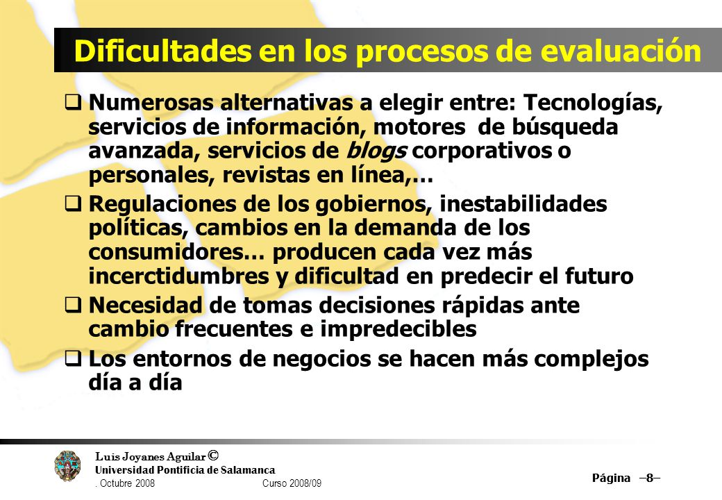 Dificultades en los procesos de evaluación