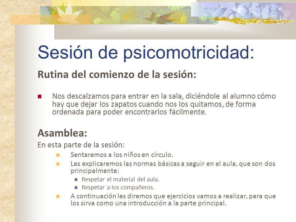 Sesión de psicomotricidad: