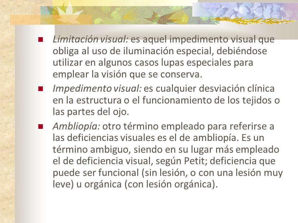 Limitación visual: es aquel impedimento visual que obliga al uso de iluminación especial, debiéndose utilizar en algunos casos lupas especiales para emplear la visión que se conserva.