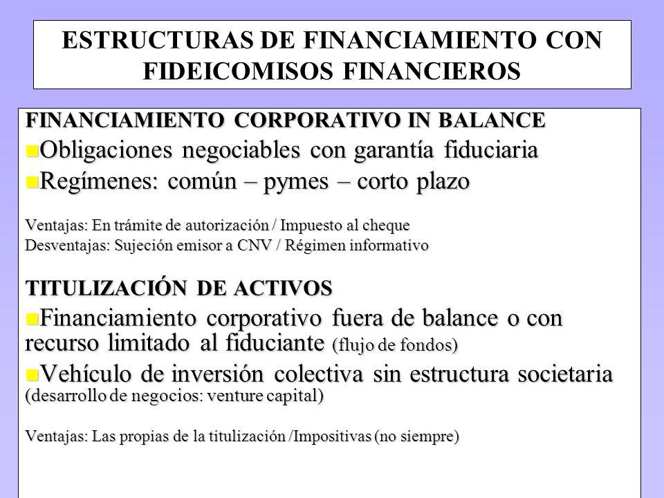 ESTRUCTURAS DE FINANCIAMIENTO CON FIDEICOMISOS FINANCIEROS