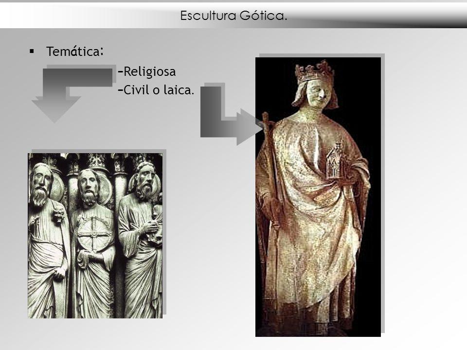 Escultura Gótica. Temática: Religiosa Civil o laica.