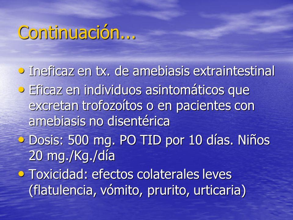 Continuación... Ineficaz en tx. de amebiasis extraintestinal