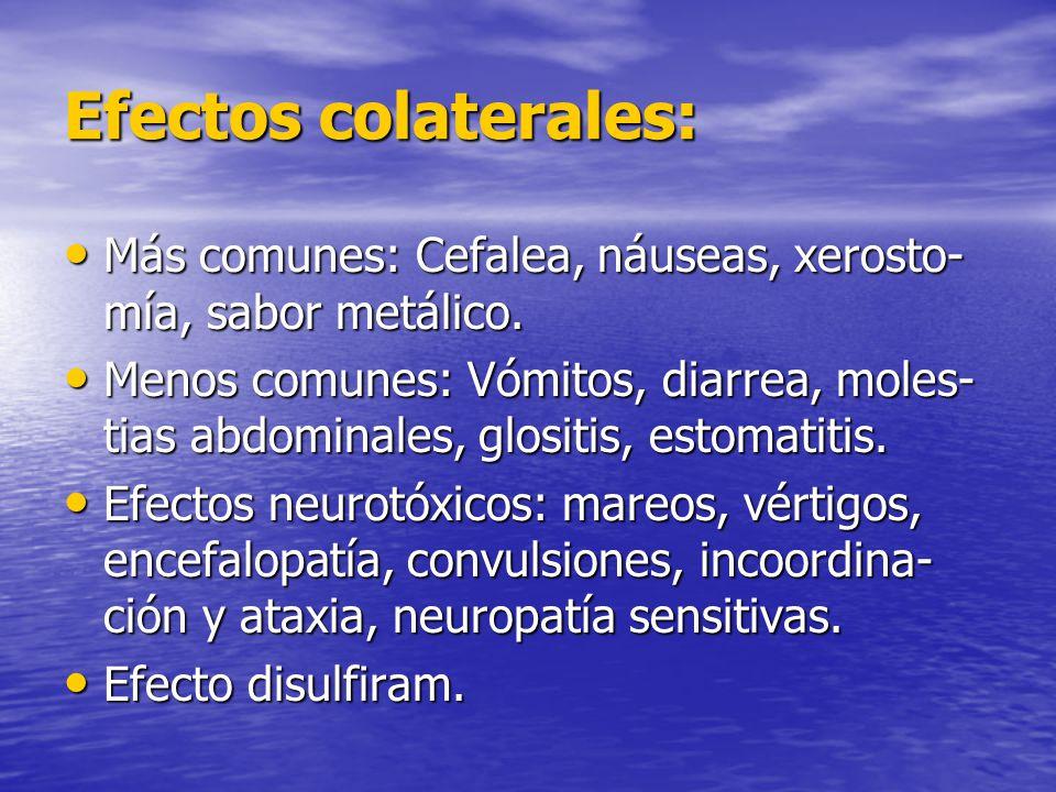 Efectos colaterales: Más comunes: Cefalea, náuseas, xerosto-mía, sabor metálico.