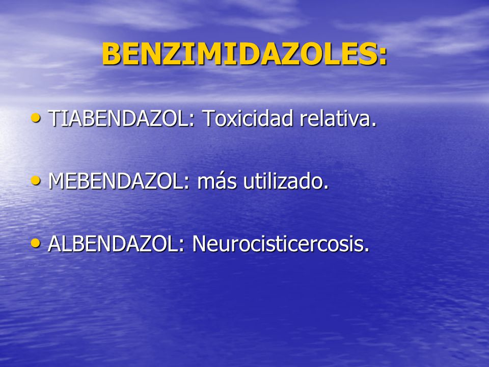 BENZIMIDAZOLES: TIABENDAZOL: Toxicidad relativa.